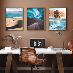 Magical and visual wall art designs for home decoration. High Quality posters full of creativity and imagination with wildlife, landscapes, nature and visual compositions. Tiger, sand dunes, ocean and northern lights.