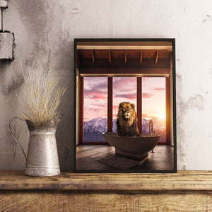 Magical and visual wall art designs for home decoration. High Quality posters full of creativity and imagination. Lion in a bathtub with a beautiful mountain view from the window.