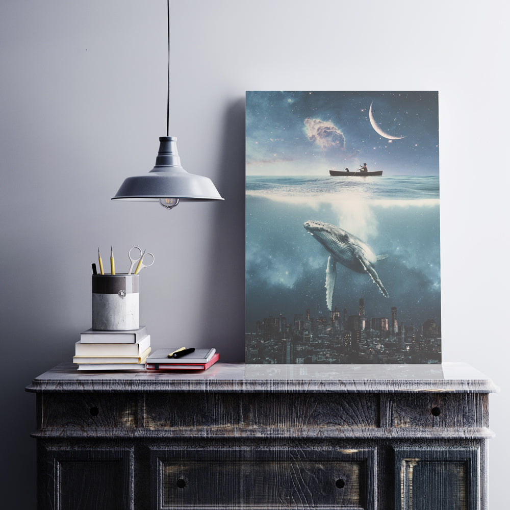 Magical and visual wall art designs for home decoration. High Quality posters full of creativity and imagination. Whale swimming in the sky over the city and under a sky full of stars and planets.