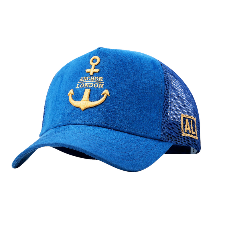 Anchor London Logo Suede Trucker Blue Yellow - Anchor London