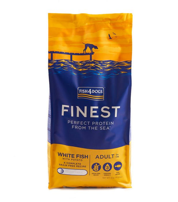 Fish4Dogs White Fish Adult Large Kibble Dog Food (6KG) (4597544026165)