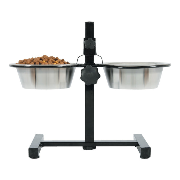 ADJUSTABLE STAND WITH STAINLESS STEEL DOG BOWLS 0.7L (4604510830645)