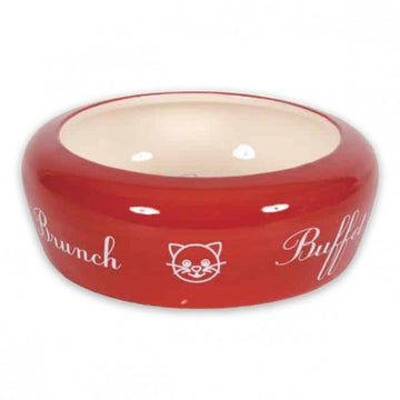 NO WASTE CERAMIC CAT BOWL BUFFET - RED