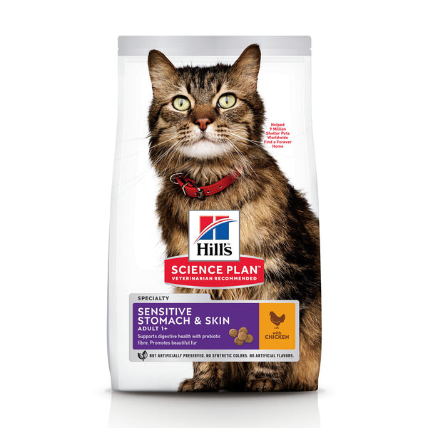 Science Plan Sensitive Stomach & Skin Adult Cat Food With Chicken (1.5kg) (4595804930101)