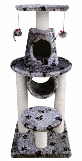 BONALTI CAT PLAY TOWER GREY WITH PAW PRINT (4606569250869)