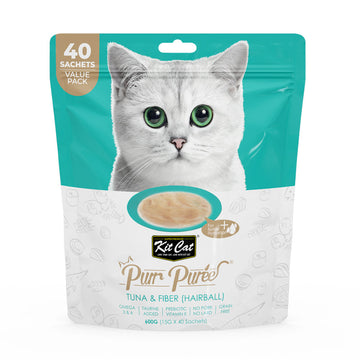 Kit Cat Purr Puree Tuna & Fiber (Hairball) (40 Sachets Value Pack)