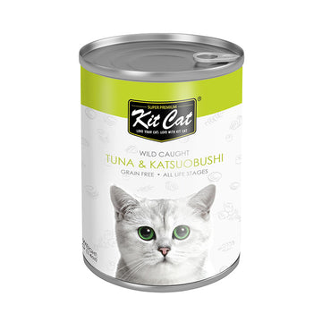 Kit Cat Wild Caught Tuna with Katsuobushi Canned Cat Food (400g)