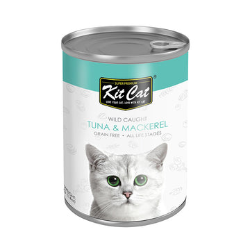 Kit Cat Wild Caught Tuna with Mackerel Canned Cat Food (400g)