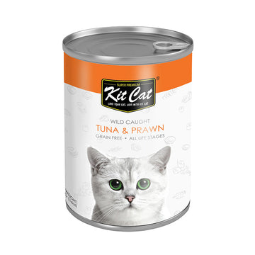 Kit Cat Wild Caught Tuna with Prawn Canned Cat Food (400g)
