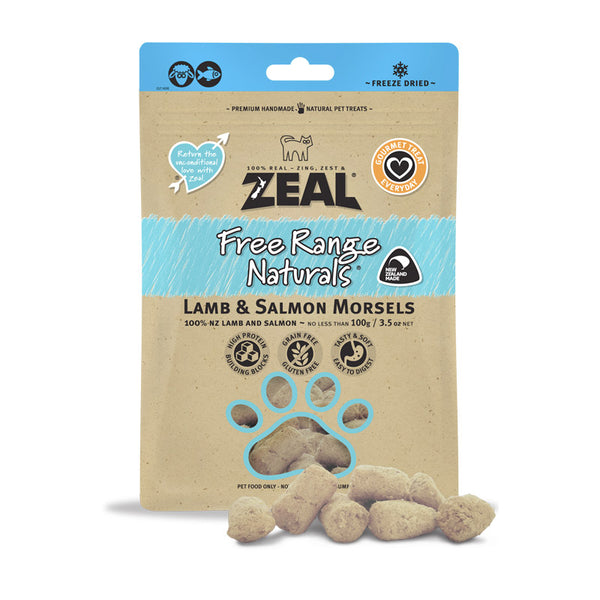 Zeal Dried Lamb & Salmon Morsels (Cat) 100g (4598940598325)