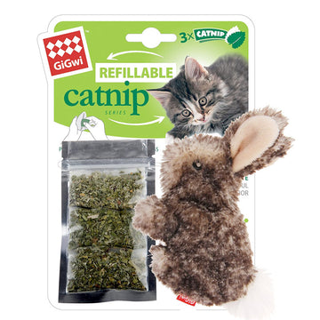 Refillable Catnip (Rabbit) with 3 catnip teabags in ziplock bag
