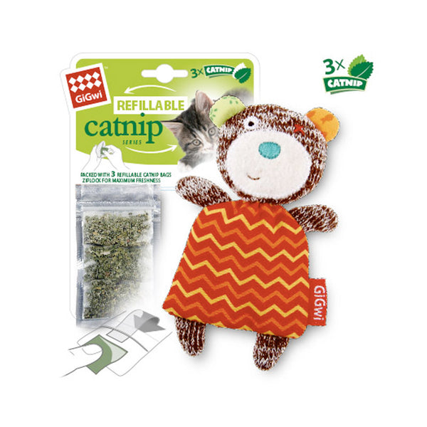 Refillable Catnip (Bear) with 3 Catnip Teabags in Ziplock bag
