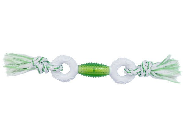 DOUBLE NYLON DUMBBELL WITH TPR CORE & DENTAL ROPE ENDS - GREEN (4605544661045)