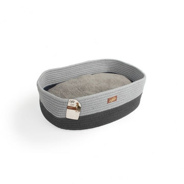 OVAL ROPE CAT BED- GREY