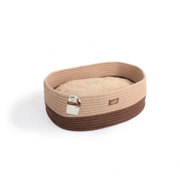 OVAL ROPE CAT BED- TAN