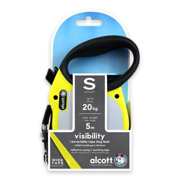VISIBILITY RETRACTABLE LEASH, 5 M - NEON YELLOW