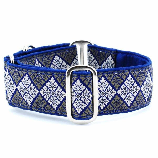 SMALL SATIN LINED MARTINGALE COLLAR - LEAF TILE NAVY (4588854214709)