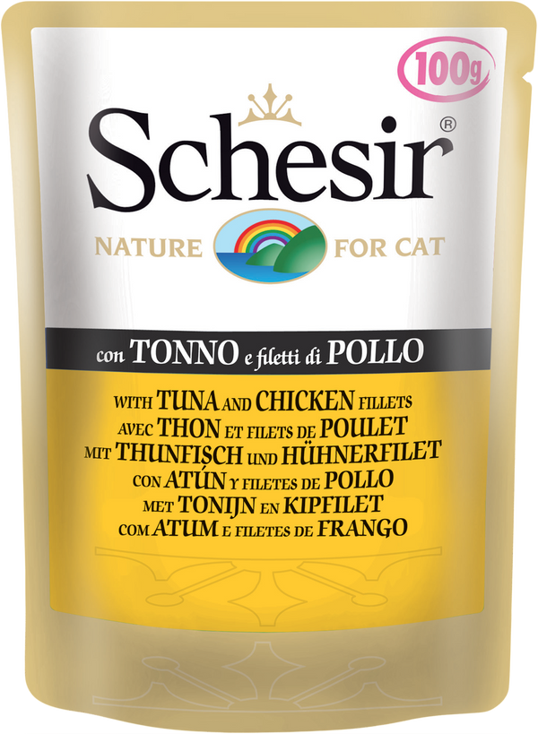 SCHESIR CAT POUCH TUNA/CHICKEN FILLET (100g) (4599474290741)