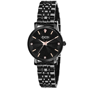 Gedi Black Flower Sculpted Black Chain Luxury Watch For Women & Girls