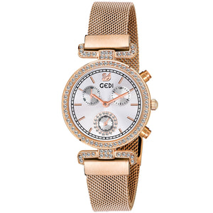 Gedi Swan White Rose Gold Studded Luxury Watch For Women & Girls