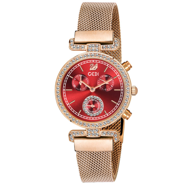 Gedi Swan Red Rose Gold Studded Luxury Watch For Women & Girls