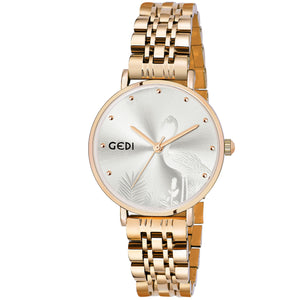 Gedi Silver Swan Gold Luxury Watch For Women & Girls