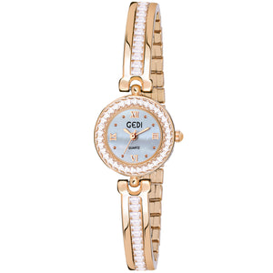 Gedi Slim Crystal Studded Chain Rose Gold Luxury Watch For Women & Girls