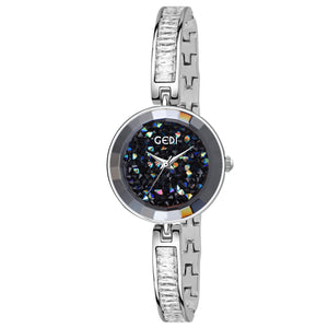 Gedi Slim Crystal Studded Chain Silver Luxury Watch For Women & Girls
