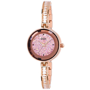 Gedi Slim Crystal Studded Chain Pink Dial Luxury Watch For Women & Girls