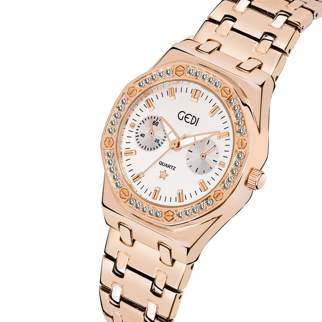 Gedi Luxurious & Rich Designer Rose Gold Timepiece For Women & Girls