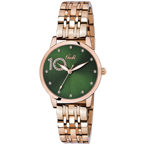 Gedi 10 Times Better Classy Studded Green Luxury Watch For Women & Girls