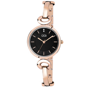 Gedi Minimal & Charming Black Rose Gold Luxury Watch For Women & Girls