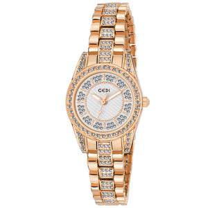 Gedi Luxurious & Rich Blingy Designer Rose Gold Timepiece For Women & Girls