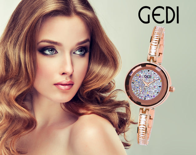 Gedi Slim Crystal Studded Chain Grey Dial Luxury Watch For Women & Girls (Rose Gold)