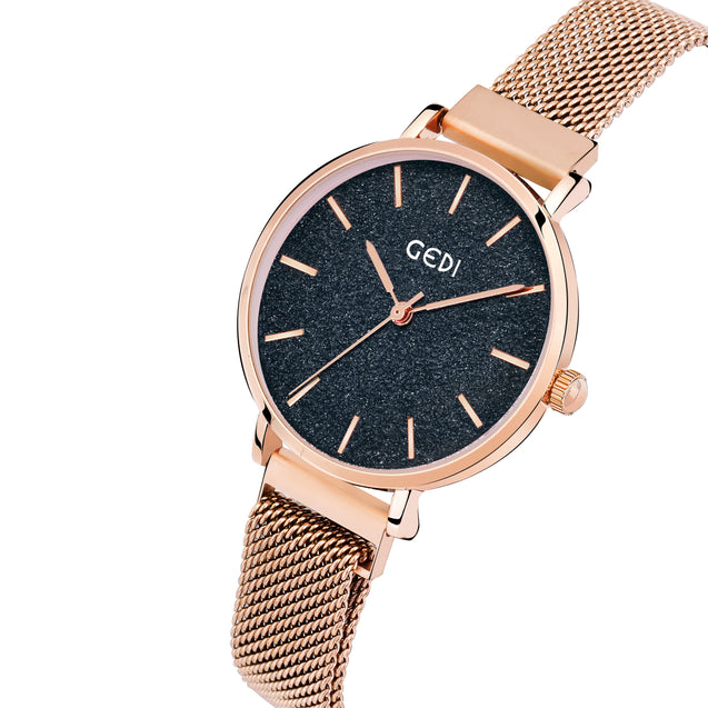 Gedi Rose Gold Elegance Classy Infinitely Adjustable Chain Luxury Watch For Women & Girls