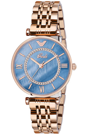 Gedi Victory Blue Dial Rose Gold Color Chain Luxury Watch For Women & Girls