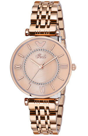 Gedi Victory Rose Gold Dial Rose Gold Color Chain Luxury Watch For Women & Girls