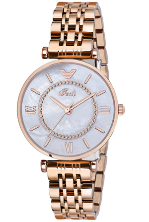Gedi Victory Silver Dial Rose Gold Color Chain Luxury Watch For Women & Girls