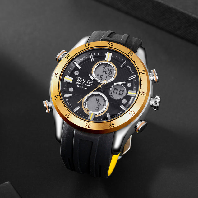 Wrath Luxe Gold Analog & Digital Luxury Watch for Men & Boys (1623_Gold).