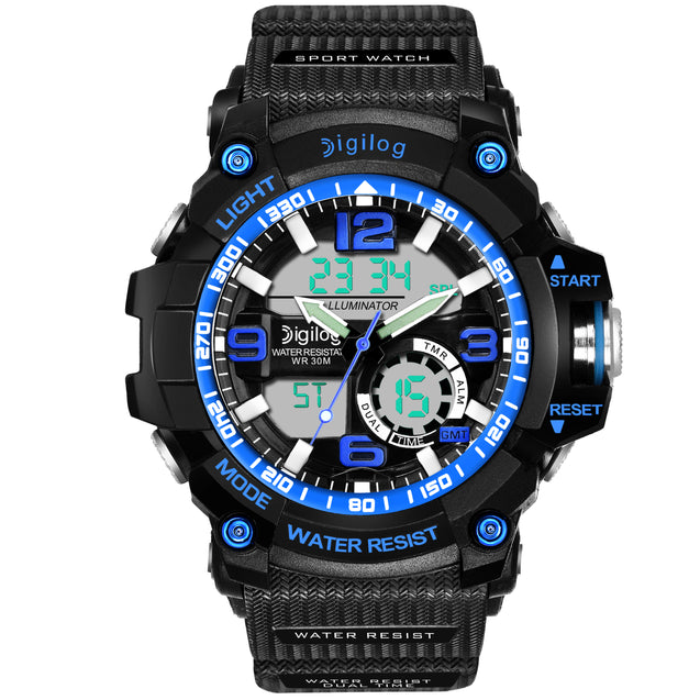 Digilog Blue Power Multi-Function Analog Digital Dual Time Watch For Men & Boys