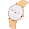 Modor Minimalist Fashionista's Beige Strap Analog Watch  - For Women