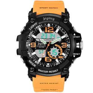 Digilog Bold Yellow Multi-Function Analog Digital Dual Time Watch For Men & Boys