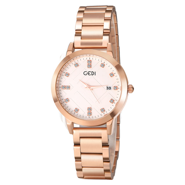 Gedi Trendy Lines Rose Gold Date Display Luxury Watch For Women & Girls