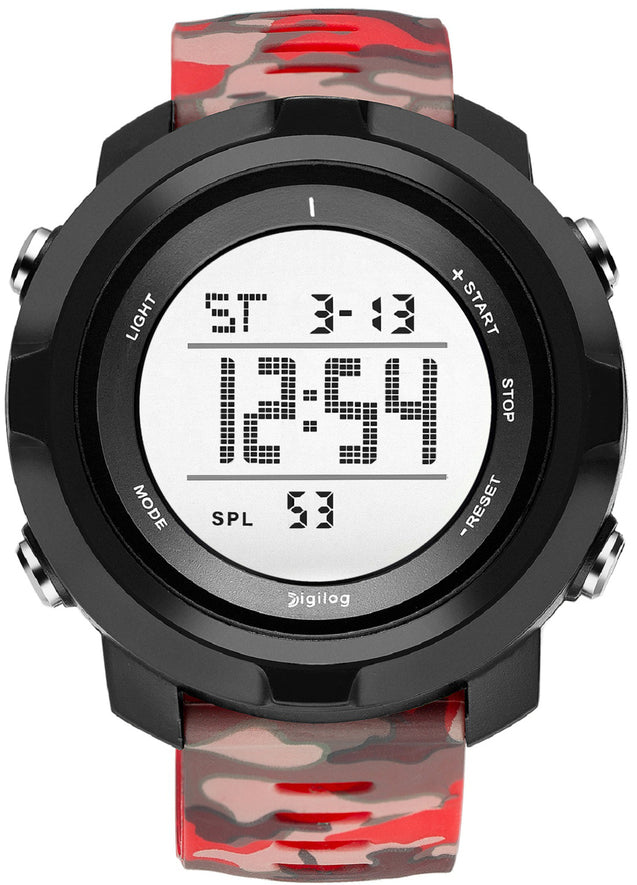 Digilog Special Ops Black & Red Camouflage Digital Multi Function Watch For Men & Boys