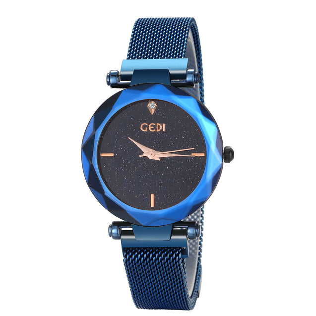 Gedi Starry Night Minimalistic Blue Magnetic Strap Luxury Watch For Women & Girls