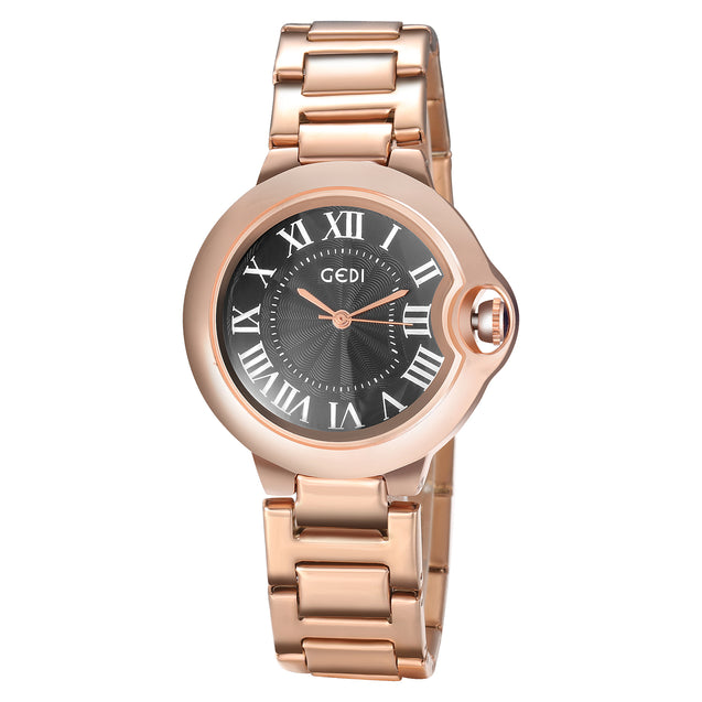 Gedi Diva's Design Black & Rose Gold Luxury Watch For Women & Girls