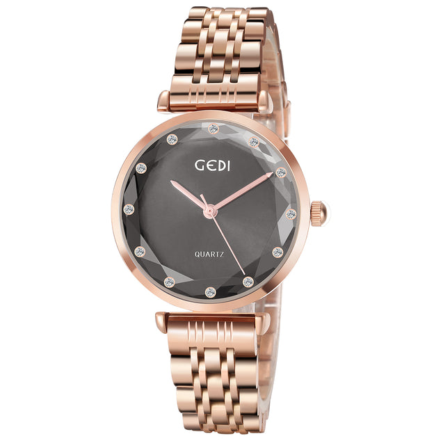 Gedi Princess Cut Golden Brown Luxury Watch For Women & Girls