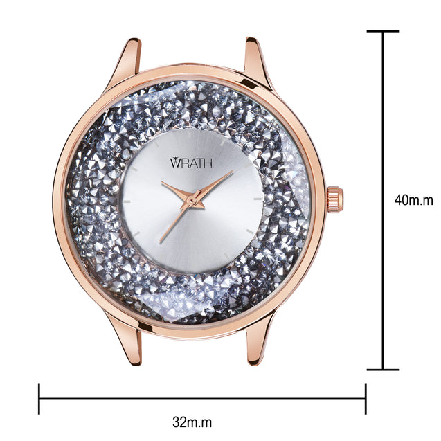 Wrath Crystal Sparkle Simply Silver Luxury Watch For Women & Girls.