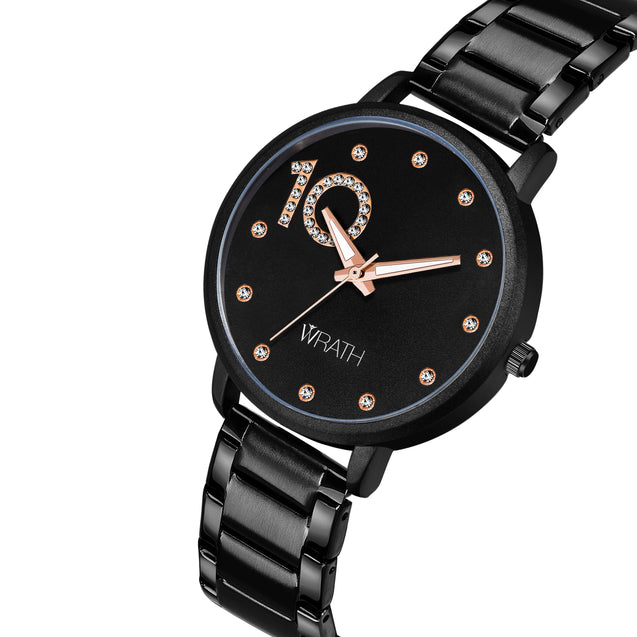 Wrath 10 Times Better Dark Black Luxury Watch For Women & Girls.