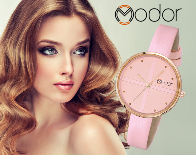 Modor Classic Charms Baby Pink Strap Analog Watch  - For Women
